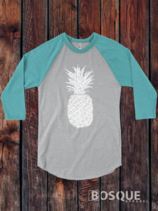 Pineapple shirt, 3/4 Sleeve Baseball Raglan / design Tee Top Shirt - Ink Printed