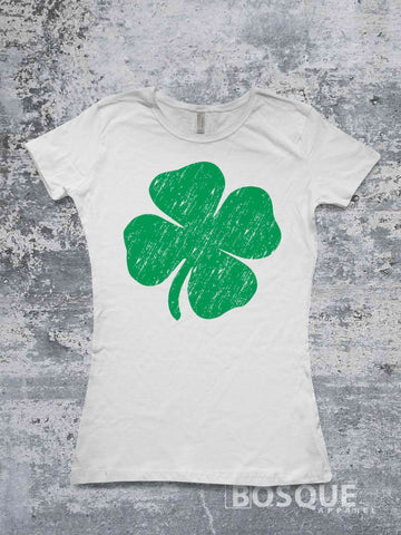 Shamrock four leaf clover lucky design St. Patrick's Day shirt - Ink Printed T-Shirt
