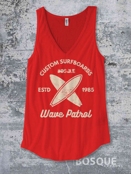 Custom Surfboards - Wave Patrol - Summer Top beach tank Shirt design Shirt - Ink Printed Tank Top