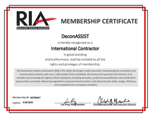 DeconASSIST is a member of the Restoration Industry Association (RIA).