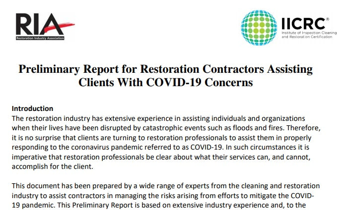 Preliminary Report for Restoration Contractors Assisting Clients With COVID-19 Concerns