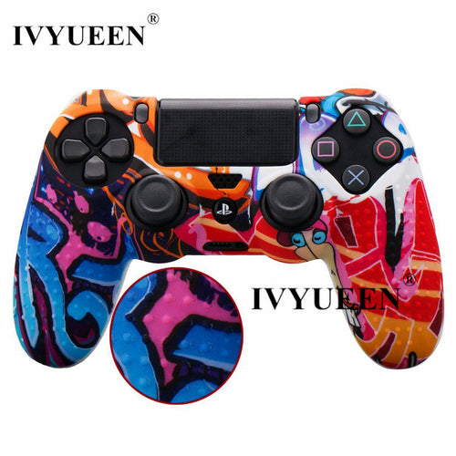 IVYUEEN Studded Anti-Slip Silicone DualShock 4 Case with Thumbstick Grip Caps