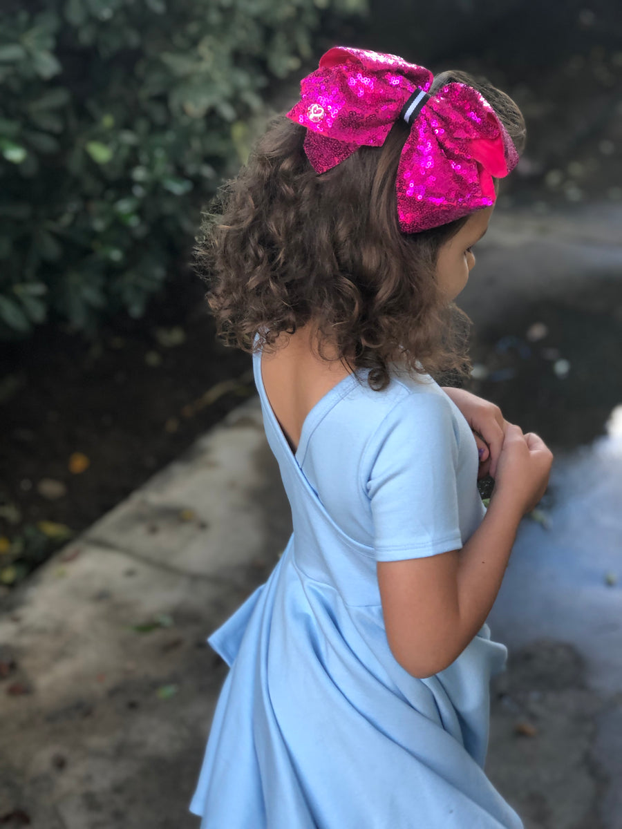 Soft ocean blue twirly dress