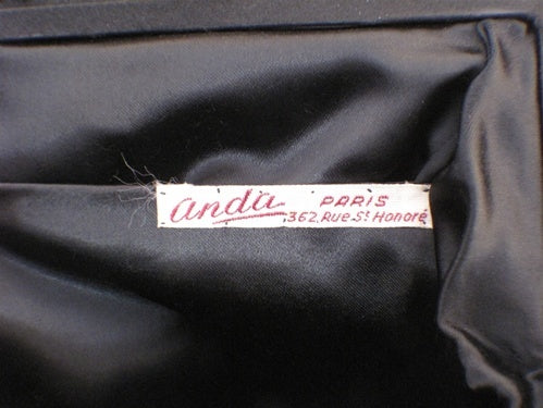 Vintage Collectible 1960's Black Satin Handbag Made in France