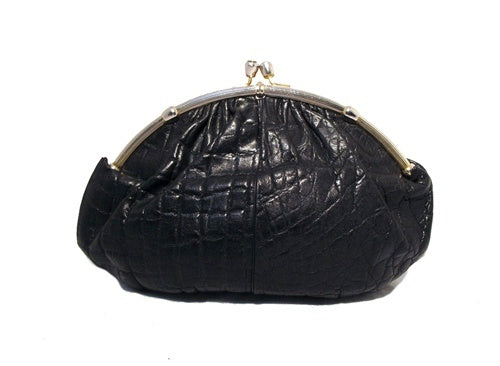 Judith Leiber Black Lizard Oversized Clutch