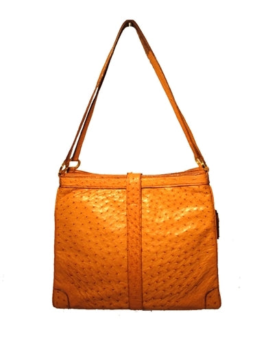 Vintage Mark Cross Tan Ostrich Shoulder Bag