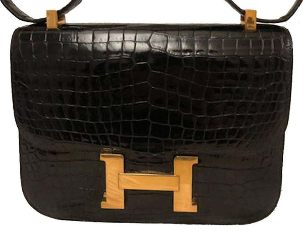 Vintage Hermes Black Crocodile Constance 23 GHW Shoulder Bag
