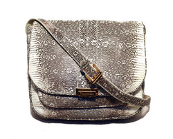 Trussardi Grey  and  White Ring Lizard Messenger Shoulder Bag