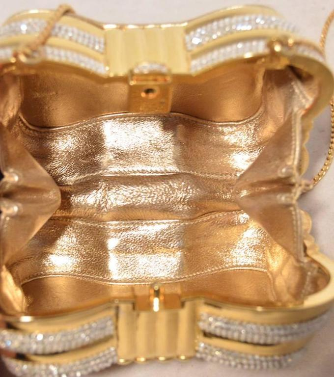 Judith Leiber Gold  and  Clear Swarovski Crystal Casket Minaudiere