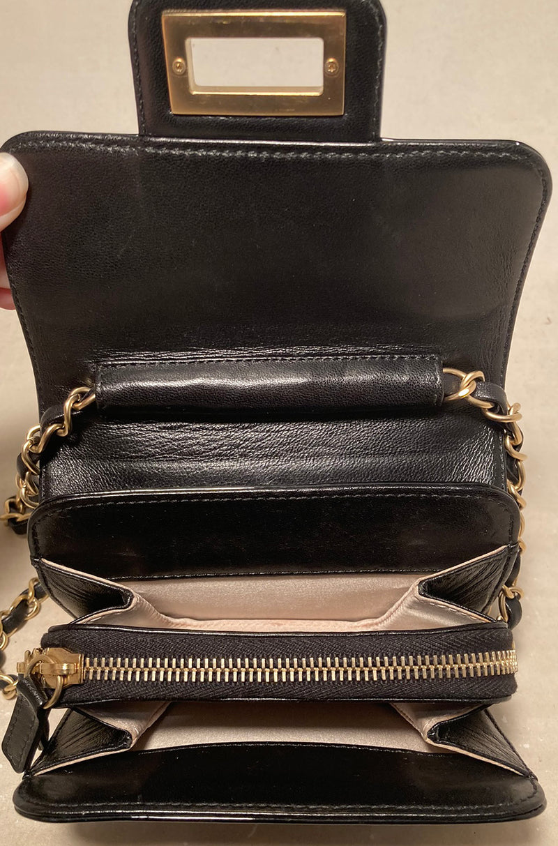Chanel Mini Black Patent Leather Classic Shoulder Bag