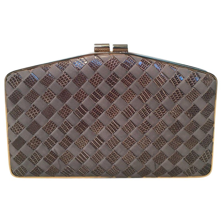 Bottega Veneta Vintage Woven Grey Lizard and Leather Clutch