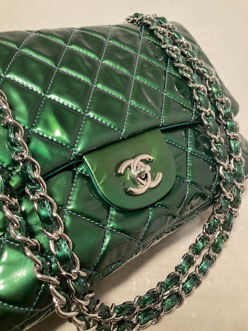 RARE Chanel Metallic Green Patent Leather Jumbo Classic Flap