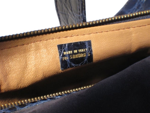 "Made in Italy for ""Sandra's"" Navy Suede and Crocodile Shoulder Bag"