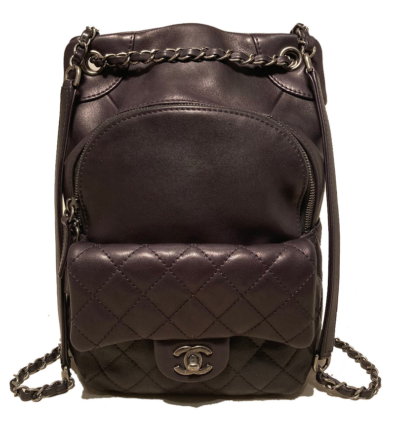 Chanel Black Leather Drawstring Backpack