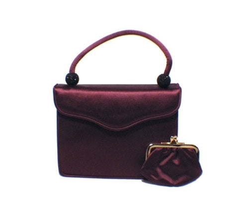 Judith Leiber Plum Satin  and  Swarovski Evening Bag