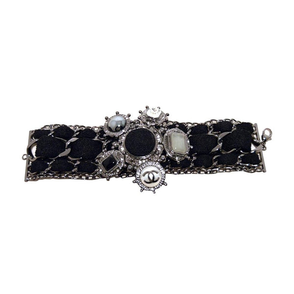 Chanel Black Wool and Gunmetal Charms Bracelet-limited Edition