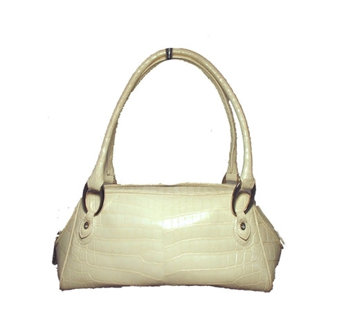 Judith Leiber White Alligator Handbag With Swarovski and Silver