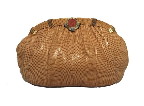 Judith Leiber Tan Lizard Oversized Vintage Clutch With Red Cameo