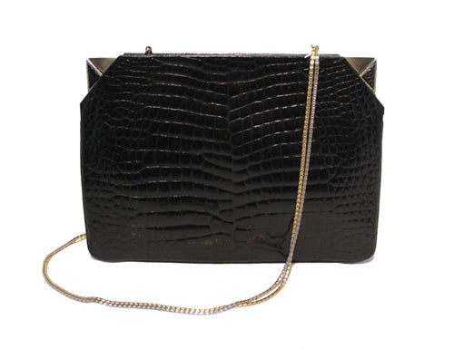 Judith Leiber Vintage Black Alligator Clutch