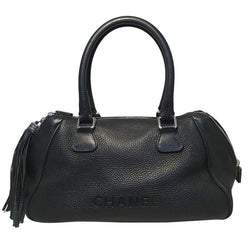 Chanel Black Leather Zip and Tassel Pull Tote Bag
