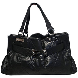 Chanel Quilted Black Leather Latch Front Tote Bag