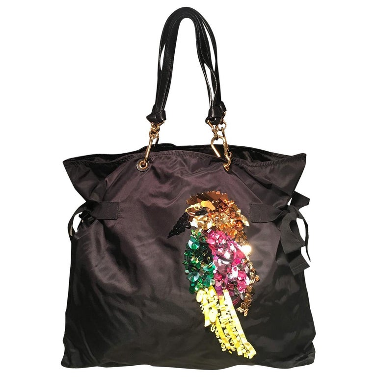 Marc Jacobs black Nylon Beaded Tropical Chappy Bird Tote