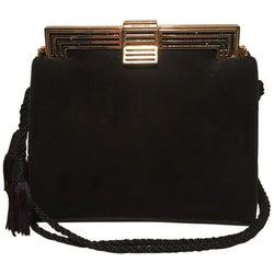 Judith Leiber Black Suede Evening Bag Clutch with Silk Tassel
