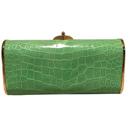 Judith Leiber Vintage Mini Green Alligator Clutch Minaudiere
