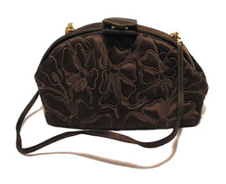 Judith Leiber Brown Silk Embroidered Vintage Pouchette