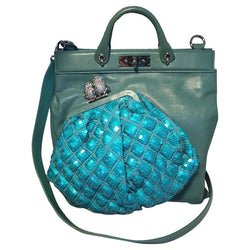 Marc Jacobs Seafoam Green Leather and Sequin Small Duffy Frog Tote