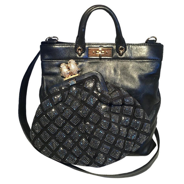 Marc Jacobs Black Leather and Sequin Small Duffy Frog Tote