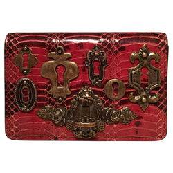 Dolce and Gabbana Maroon Snakeskin Keyhole Clutch Bag