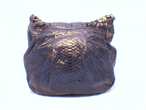 Zagliani Handmade Navy Blue Snakeskin Shoulder Bag