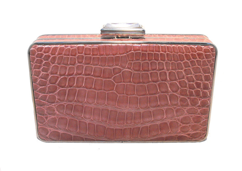 Judith Leiber Pink Alligator Box Clutch With Crystal Closure
