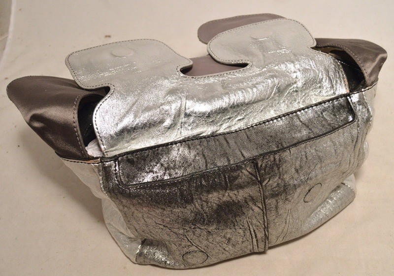 Chloe Silver Leather Satin Snakeskin Buckle Shoulder Bag