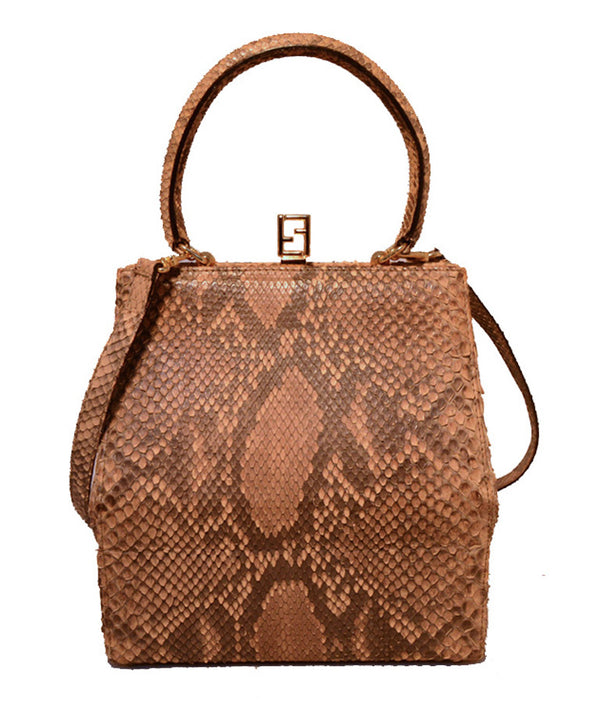 RARE Fendi Natural Python Snakeskin Two-Way Kelly Bolide Handbag
