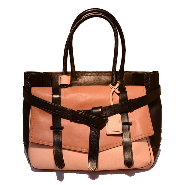 Reed Krakoff Black and Tan Leather Portfolio Tote Bag