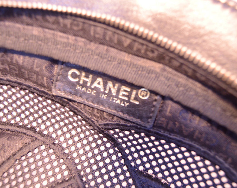 Chanel Black Woven Linen and Leather CC Logo Cut Out Tote Bag