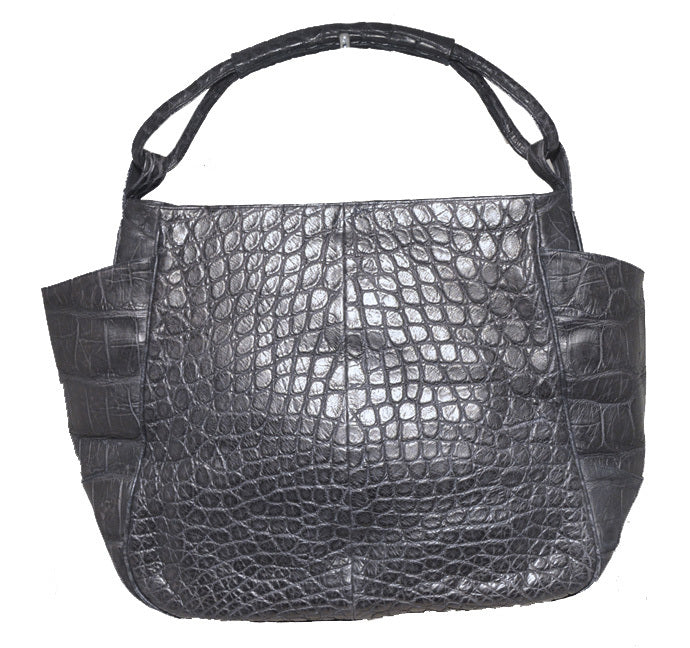 Gorgeous Designer Navy Blue Alligator Shoulder Bag Tote