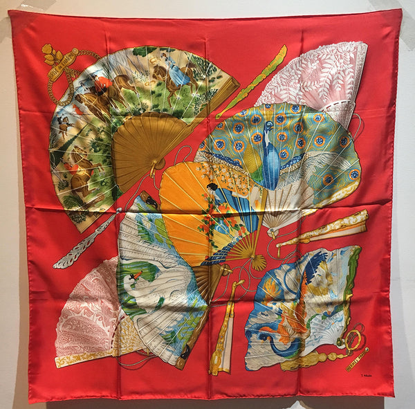 Hermes Vintage Brise de Charme Silk Scarf in Bright Red c1990s
