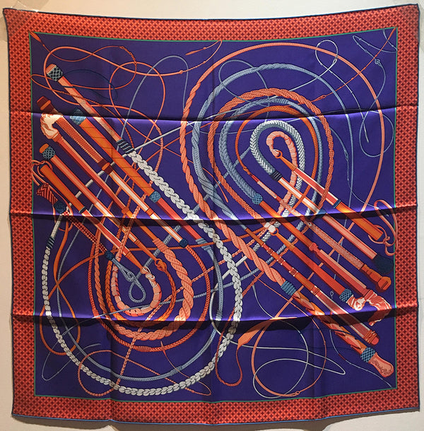 Hermes Fouets et Badines Silk Scarf in Orange and Purple