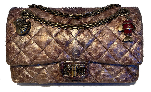 RARE Chanel Metallic Copper Python 2.55 Double Flap Classic