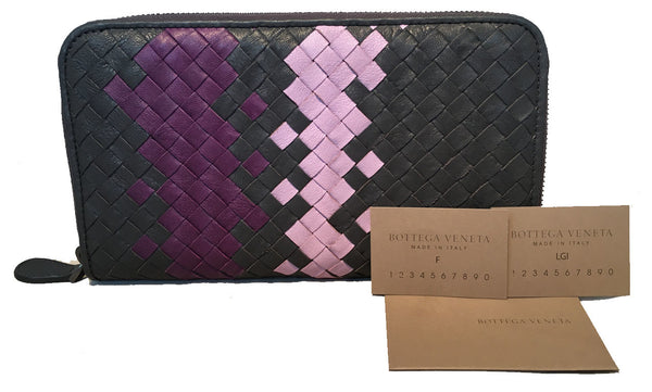 Bottega Veneta Woven Grey and Purple Leather Zip Wallet