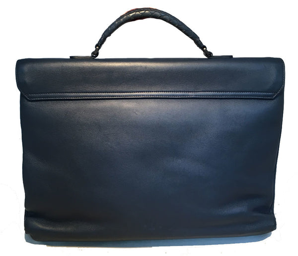 Bottega Veneta Navy Blue Leather Briefcase