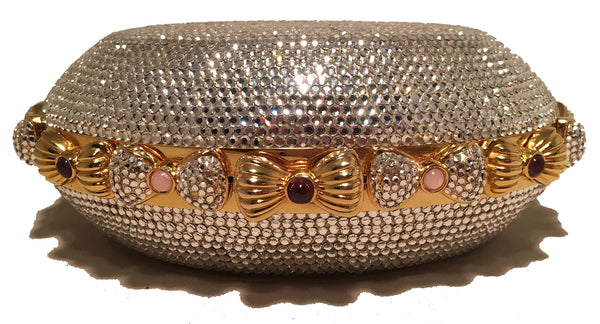 Judith Leiber Swarovski Crystal Oval Bow Trim Minaudiere Evening Bag Clutch