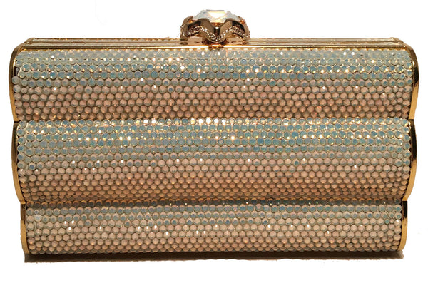 Judith Leiber Iridescent Swarovski Crystal Gold Minaudiere Evening Bag Clutch