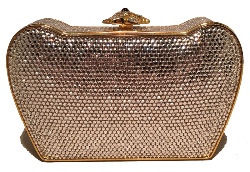 Judith Leiber Clear Swarovski Crystal Flower Top Minaudiere Evening Bag Clutch