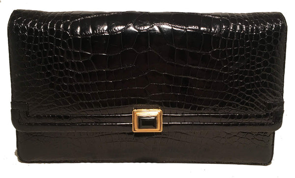Judith Leiber Vintage Black Alligator Shoulder Bag Clutch