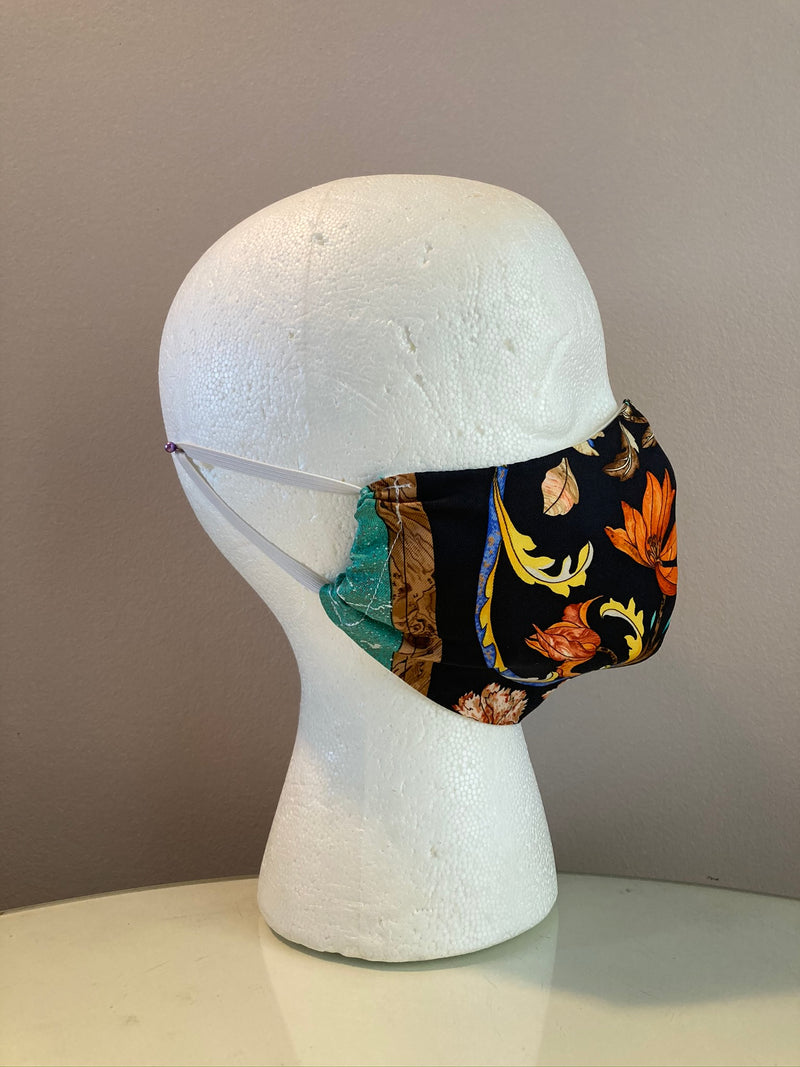 Vintage Hermes Pierres d'Orient et d'Occident Silk Scarf Face Mask