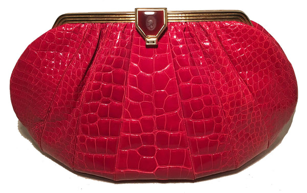 Judith Leiber Vintage Red Alligator XL Oversized Clutch
